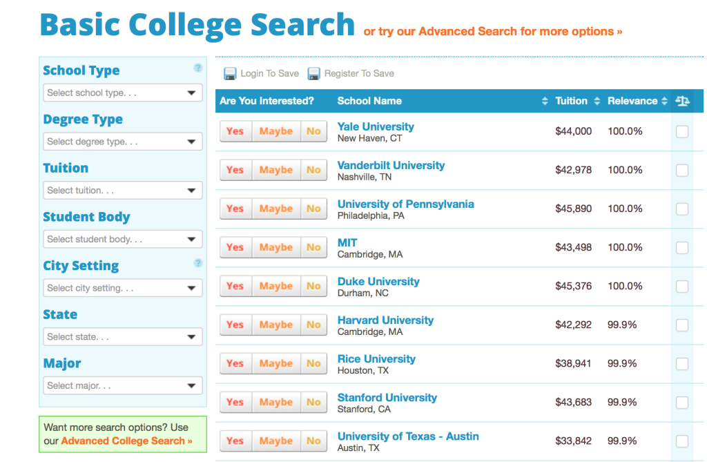 Niche Basic College Search Engine